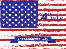 Amerykański dnia niepodległości 4 th Lipiec Kartka Z Pozdrowieniami projekt Tasiemkowy sztandar również zwrócić corel ilustracji  Obraz Royalty Free