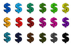 Amerykański Dolarowy symbol - różnorodni kolory Zdjęcie Royalty Free