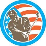 Amerykański golfista Bawić się Golfowego okrąg Retro royalty ilustracja