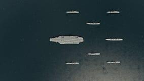 Amerykański lotniskowiec z niszczycielami i krążownikiem w Pacyficznym oceanie w kierunku Północnego Koreaì ilustracji