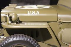 Amerykański militarny rocznika pojazd 1944 Willys MB zakończenie up Boczny widok obraz royalty free