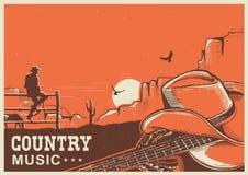Amerykański muzyka country plakat z kowbojskim kapeluszem i gitarą na ziemi ilustracji