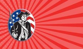 Amerykański patriota minuteman Z bagnet flaga I karabinem ilustracja wektor
