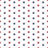 Amerykański patriotyczny bezszwowy wzór z gwiazdami w tradycyjnych czerwieni, błękitnych i bielu kolorach, ilustracja wektor