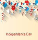 Amerykański Patriotyczny sztandar dla dnia niepodległości z balonami, Streamer, gwiazdami i banderkami, ilustracja wektor