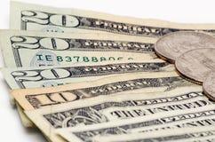 Amerykański pieniędzy dolarowych rachunków zbliżenie Zdjęcia Royalty Free