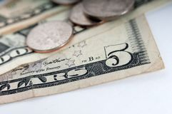 Amerykański pieniędzy dolarowych rachunków zbliżenie Zdjęcia Stock