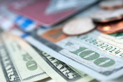 Amerykański pieniędzy dolarowych rachunków zbliżenie Obraz Royalty Free