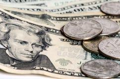 Amerykański pieniędzy dolarowych rachunków zbliżenie Obrazy Stock