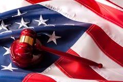amerykański pojęcia flaga młoteczka system prawny Zdjęcie Royalty Free