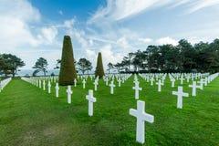 Amerykański Wojenny cmentarz blisko Omaha plaży, Normandy Colleville fotografia royalty free