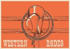 Amerykański Zachodni kowbojski kapelusz i lasso na drewnie my fechtujemy się royalty ilustracja