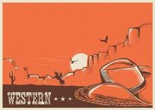 Amerykański zachodni plakat z kowbojskim kapeluszem i lasso ilustracji