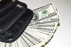 100 Amerykańskich dolarów obrazków w torbie, dolarów obrazki w pieniądze portflu, Obrazy Stock