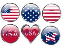 amerykańskich guzików chorągwiany set ilustracji