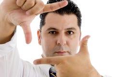 amerykańskich palców ramowy robi mężczyzna Fotografia Royalty Free