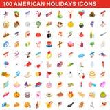 100 Amerykańskich wakacji kantują set, isometric 3d styl Fotografia Stock