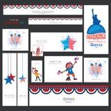 Amerykańskiego dnia niepodległości ogólnospołeczne medialne reklamy lub chodnikowowie Fotografia Royalty Free