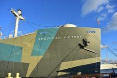 Amerykańskiego zwycięstwo statku Aft pokład fotografia royalty free