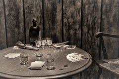 Amerykańskiej Zachodniej legendy Antykwarski bar Uprawia hazard stół obraz stock