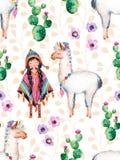 Amerykańsko-indiański dziewczyna w tradycyjnym poncho i lama Fotografia Stock