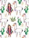 Amerykańsko-indiański dziewczyna w tradycyjnym poncho i lama Obrazy Royalty Free