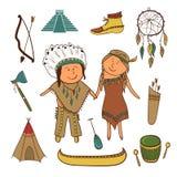 Amerykańsko-indiański ikony ustawiać ilustracja wektor