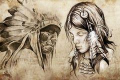 Amerykańsko-indiański kobieta, tatuażu nakreślenie royalty ilustracja