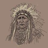 Amerykańsko-indiański lider okulary bród grey stary portret stary nosić Cyfrowego nakreślenia ręki Rysunkowy wektor ilustracja wektor
