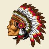 Amerykańsko-indiański w tradycyjnym kostiumu Fotografia Royalty Free