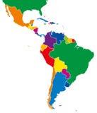 Ameryka Łacińska przerzedżą stan mapy pełnego kolor Obrazy Royalty Free