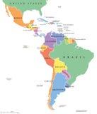 Ameryka Łacińska przerzedżą stan polityczną mapę Obraz Stock