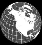 Ameryka alfa kanału koloru globu ogniska naturalnej na północ Zdjęcia Stock