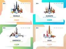 Ameryka, Europa, Azja, świat Set podróż sztandary lub sieć szablon dla strony internetowej lub lądowanie strony czas podróży Wekt ilustracji