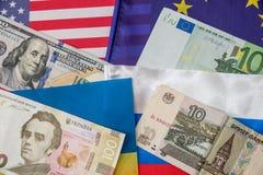 Ameryka, Europe, Ukraine i Russia pieniądze, Zdjęcia Stock