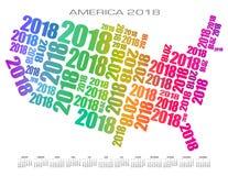 2018 Ameryka kalendarz robić z liczb Zdjęcia Royalty Free
