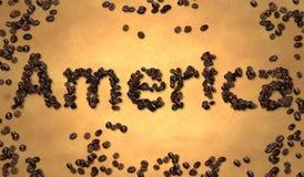Ameryka Kawowa fasola na Starym papierze Zdjęcie Royalty Free