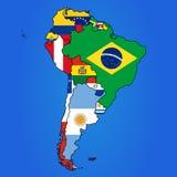 ameryka kontynentalnej mapy politycznych na południe Zdjęcie Royalty Free