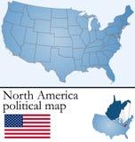 ameryka mapy politycznej na północ Fotografia Royalty Free