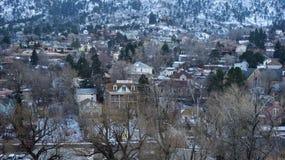 Ameryka miastowy miasteczko w zimie Zdjęcie Stock