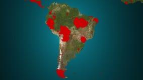 Ameryka Południowa 4K Rozszerzanie się coś Epidemia, wojna, etc, ilustracji