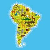 Ameryka Południowa opieszałości anteater pieprzojada lama nietoperza futerkowej foki armadyla boa manata małpy delfinu Grzywiaste Obrazy Stock