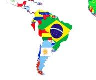 Ameryka Południowa mapy 3d ilustracja na bielu Fotografia Royalty Free