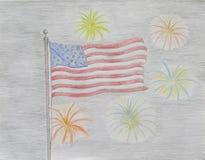 amerykańska flaga fajerwerk Zdjęcie Stock