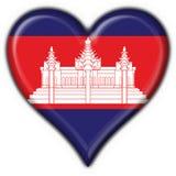 amerykańska flaga guzik Cambodia serce Obrazy Royalty Free