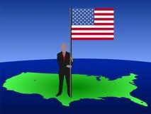 amerykańska flaga ludzi Fotografia Royalty Free