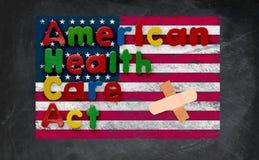 Amerykańska opieka zdrowotna aktu ilustracja z USA flaga Fotografia Royalty Free