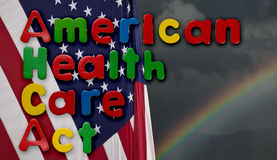 Amerykańska opieka zdrowotna aktu ilustracja z USA flaga Zdjęcie Royalty Free