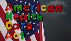 Amerykańska opieka zdrowotna aktu ilustracja z USA flaga Zdjęcia Stock