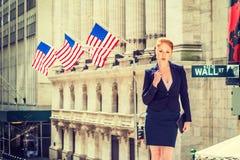 Amerykański bizneswoman pracuje w Nowy Jork obraz stock